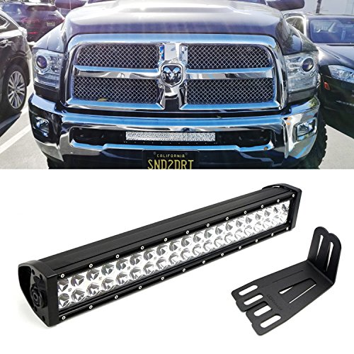 "iJDMTOY 20"" 120W High Power Double-Row LED Light Bar with Hidden Lower Bumper Mounting Bracket For 2009-2016 Dodge RAM 2500 3500"