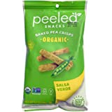 Peeled Snacks Organic Baked Pea Crisps, Salsa Verde, 3.3 Ounce (Pack of 12)