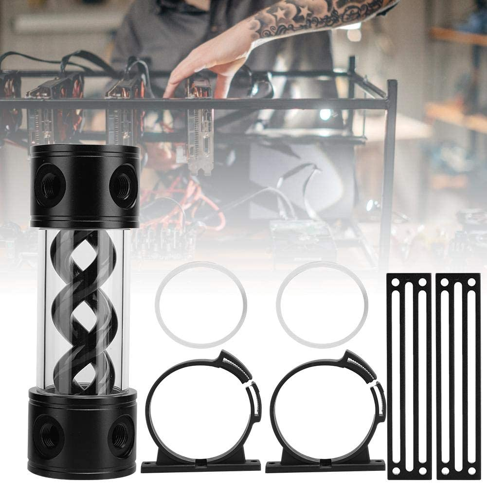 Yoidesu Water Cooling Tank Reservoir,G1//4 Threaded Cylinder Reservoir,T-Helix Suspension Cylindrical Cooler Tank for Computer Water Cooling System