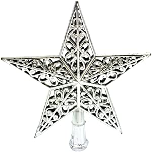 TINKSKY Hollowed-Out Christmas Tree Top Sparkle Star Glittering Hanging Xmas Tree Topper Decoration Ornaments Home Decor (Silver)