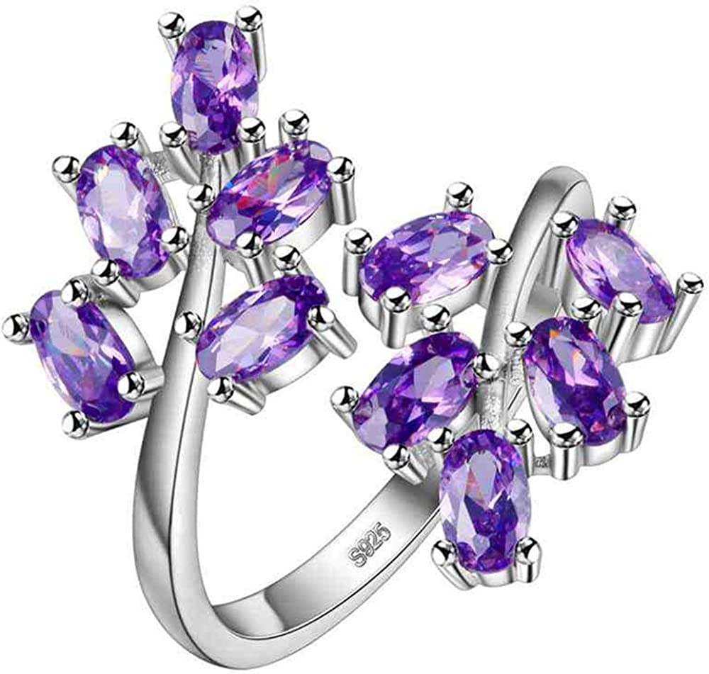 Uloveido Women's White Gold Plated Oval Cut Cubic Zirconia Laurel Branch Tree Leaf Adjustable Engagement Anniversary Ring (Red, Pink, Purple) J681