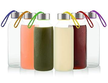 758330918327 Glèur - Juego de 6 Botellas Reutilizables de ...