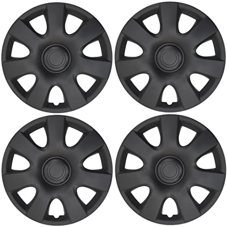 BDK K94B Matte Black Hubcaps Wheel Covers (15 inch) – Four (4)