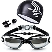 Swim Goggles, Swimming Goggles No Leaking Anti Fog UV Protection Triathlon Swim Goggles with Free Protection Case for Adult Men Women Youth Kids Child With Swimming cap