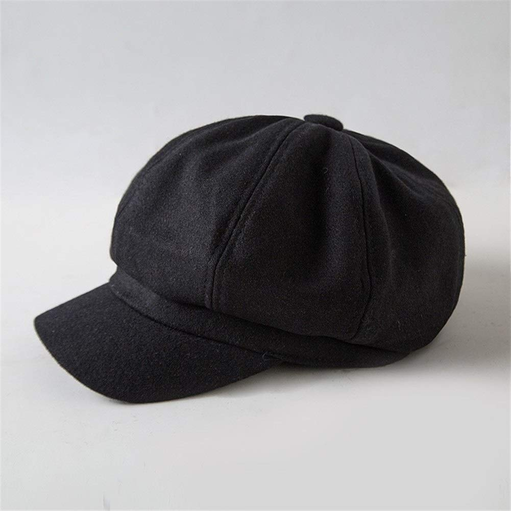 Hot Women Wool Octagonal Hats Female Newsboy Caps Solid Color Visor Caps Thick Warm Winter Wool Hats Berets (Color : Black, Size : M) by ERNANGUA