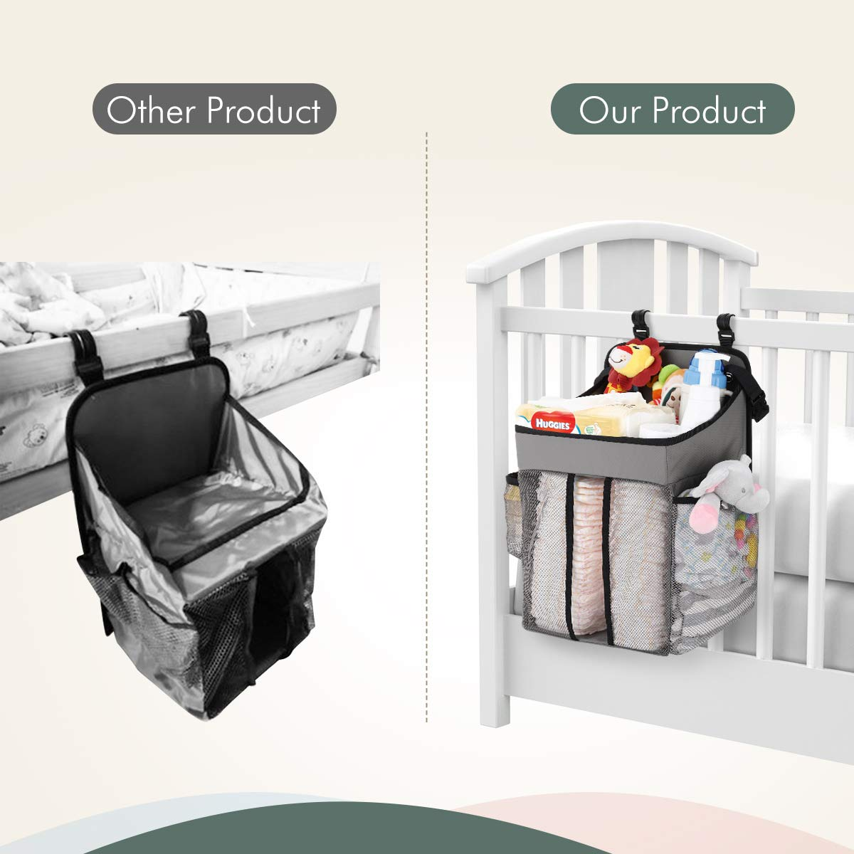 Zooawa Hanging Crib Organizer Gray Large Capacity Hanging Diaper Caddy Nursery Bag Crib Diaper Organizer for Diapers Wipes Baby Essentials Storage