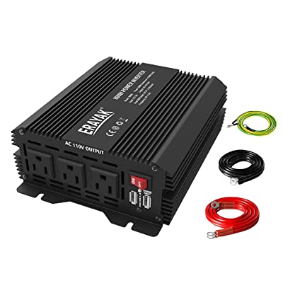 800W Power Inverter DC 12V to 110V AC Converter with Dual USB Ports for Car Truck 1600 Watts Peak Featuring: Automotive