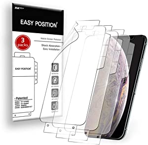 Easy Position Screen Protector (3-packs) iPhone Xs Max CLEAR Flexible Film Shock Resistance Curved Edges Covered Case Friendly Easy Installation