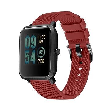 Fossrn Banda De Reloj De Pulsera De Textura Oblicua Color Puro Silicona Correa para Xiaomi Huami Amazfit Bip Youth Watch (Grande / 7.91 Pulgadas, ...