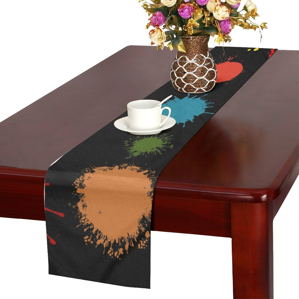 Embroidery Dab Color Spray Colorful Creative Table Runner, Kitchen Dining Table Runner 16 X 72 Inch For Dinner Parties, Events, Decor