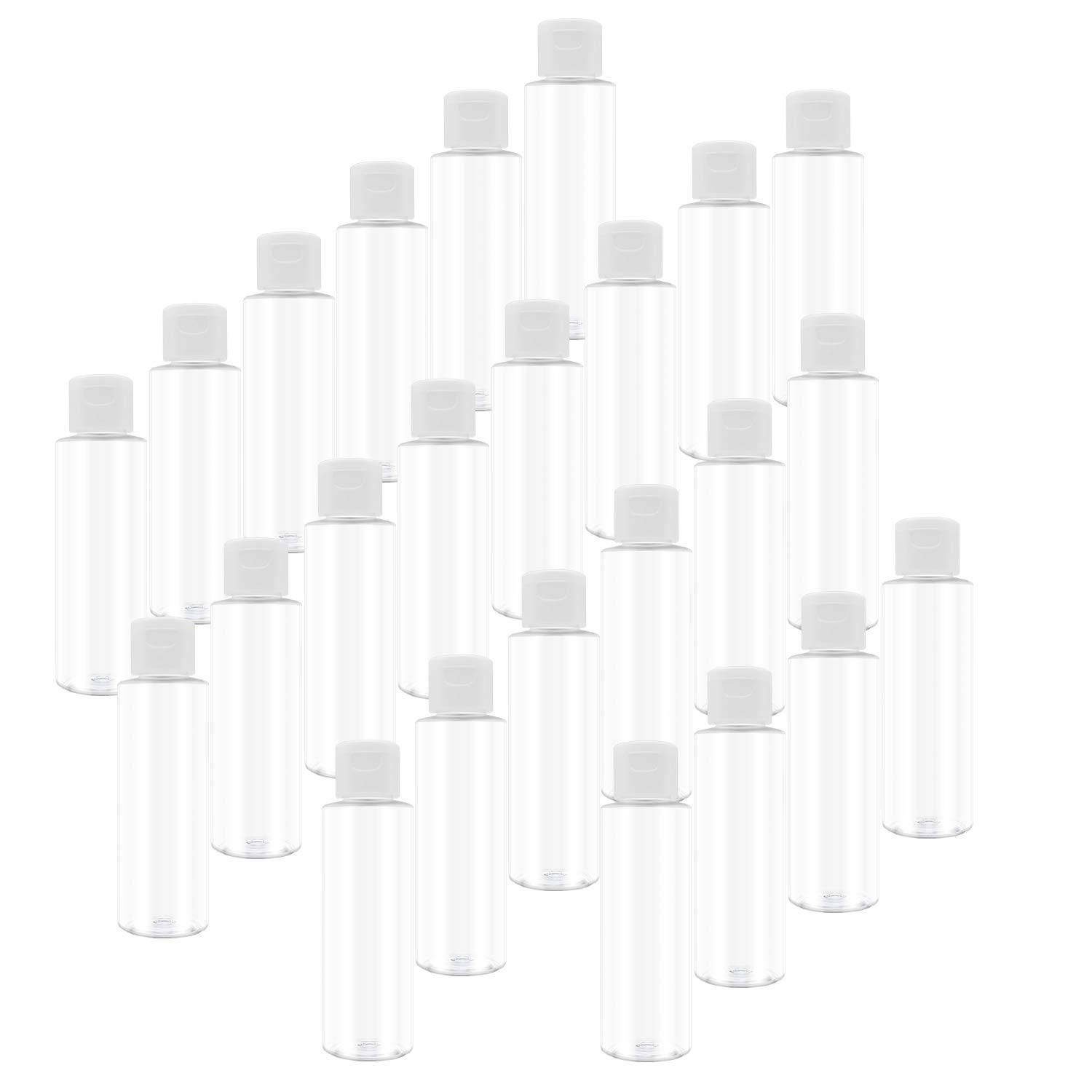 Trendbox 4oz Clear Plastic Empty Bottles with Flip Cap -BPA-free Travel Containers For Shampoo, Lotions, Liquid Body Soap and Massage Oils - Set of 24