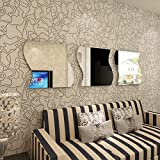 Alrens_DIY(TM)30x30cm/Pcs Large 3 Pcs Wave Square Acrylic Crystal Wall Sticker DIY 3D Effective Mirror Wall Decor Home Decoration Living Room Bedroom Self Adhesive Decorative Mural Decal - Silver & Golden (Silver)