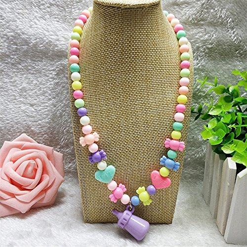 - Pinjewelry Fantastic Necklaces Little Girl Pacifier Pendant Beeded Necklace Jewellery Collections Charm Beaded Necklace Party Accessory Colorful