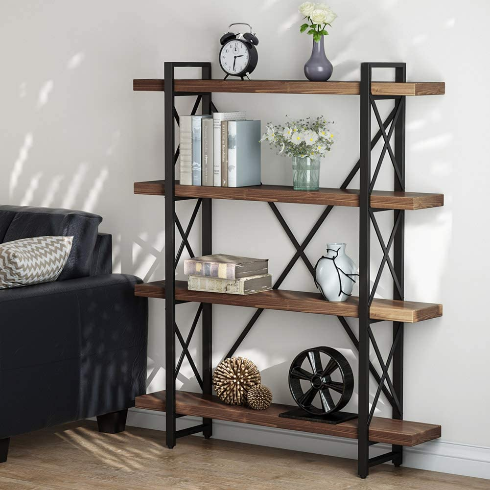 LITTLE TREE 47.2 Inches Solid Wood 4-Tier Shelf Bookcase, Vintage Industrial Wood Metal Book Shelves for Home and Office Organizer Bookshelf, Retro Brown