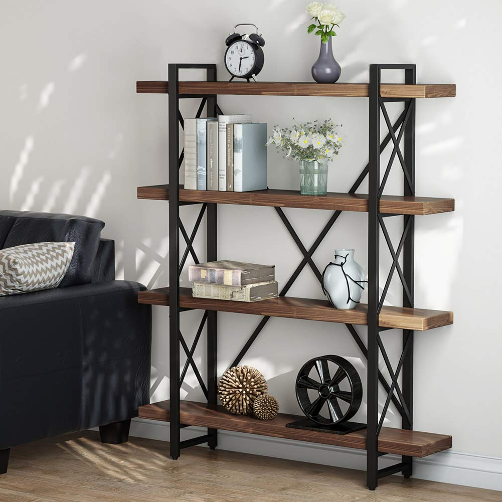 LITTLE TREE 47.2 Inches Solid Wood 4-Tier Shelf Bookcase, Vintage Industrial Wood & Metal Book Shelves for Home and Office Organizer Bookshelf, Retro Brown by LITTLE TREE