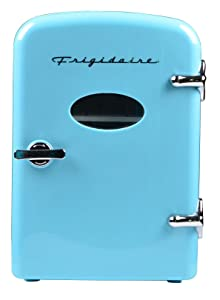 Frigidaire Retro Mini Compact Beverage Refrigerator, Great for keeping office lunch cool! (Blue, 6 Can) (Certified Refurbished)