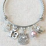 c57197ef9 Happy 13th Birthday Heart Charm Bracelet, 13th BIRTHDAY GIRL Bracelet,  Teenage Daughter Gift Ideas