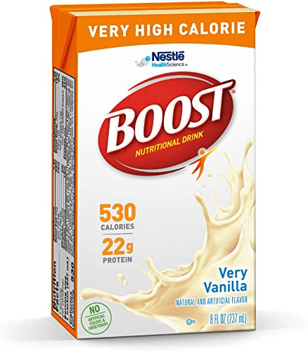 Boost Nutritional Drinks Very High Calorie Complete Nutritional Drink, Very Vanilla, 8 Ounce Box, Pack of 27