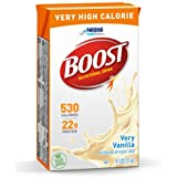 BOOST Very High Calorie Complete Nutritional Drink, Very Vanilla, 8 Ounce Box (Pack of 27)