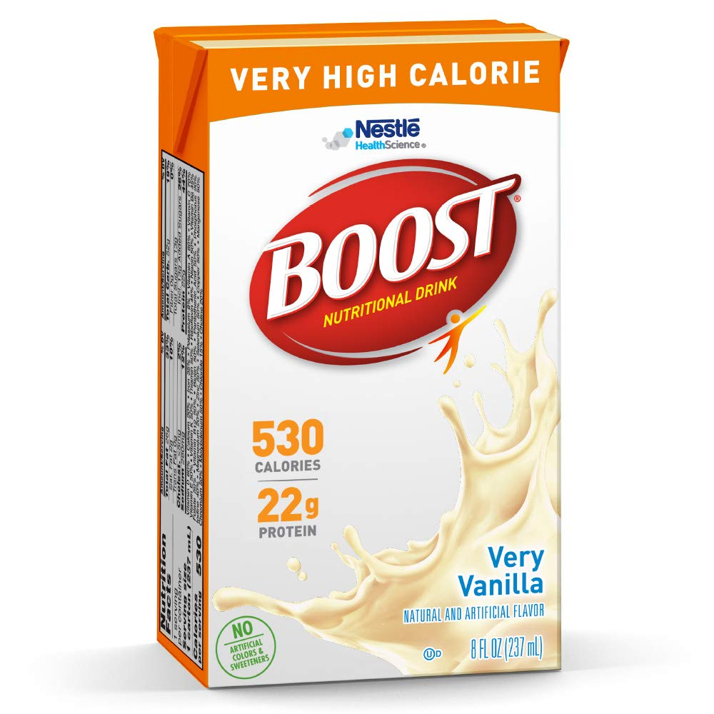 Boost Very High Calorie Nutritional Drink, Very Vanilla, 8 Ounce Box, Pack of 27