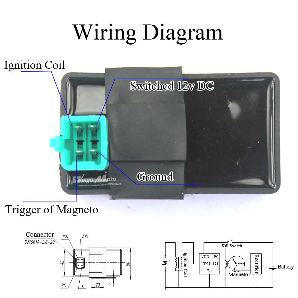 Amazon.com: Wingsmoto Ignition CDI Box 4 Pins DC 50cc 70cc ... on 2 stroke toyota, 2 stroke engine diagram, 2 stroke clutch, 2 stroke motor, 2 stroke ignition diagram, 2 stroke exhaust, 2 stroke parts, 2 stroke ez go wiring, 2 stroke timing, 2 stroke volvo, 2 stroke piston, 2 stroke crankshaft, 2 stroke valves, 2 stroke assembly, 2 stroke tractor, 2 stroke tools, 4 stroke engine diagram, 2 stroke alternator, 2 stroke fuel pump, 2 stroke cooling,