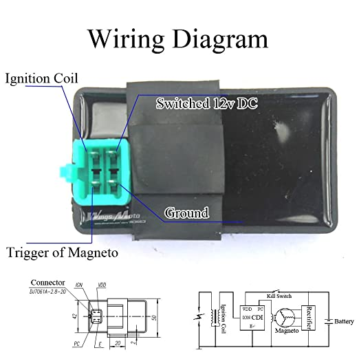 Amazon.com: Wingsmoto Ignition CDI Box 4 Pins DC 50cc 70cc ... on