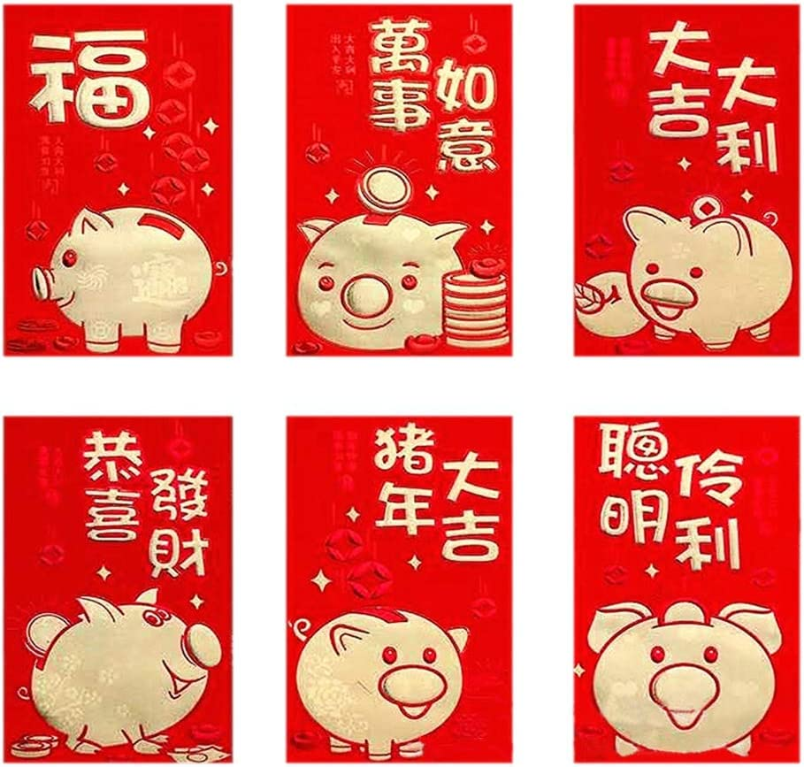 Zhengpin 6 Pack of Chinese Hong Bao Red Envelopes Chinese Lucky Money Envelopes Red Packet Lai See Lucky Packet Cash Envelope Red Pockets for Chinese New Year Wedding Birthday