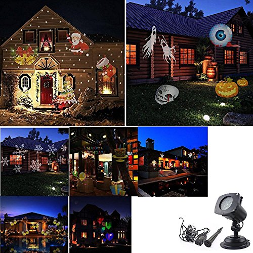 [Projector Lights 12 Pattern Gobos Outdoor Garden Lamp Lighting Waterproof Sparkling Landscape Projection Light for Decoration Lighting on Christmas Halloween Holiday] (Halloween Lighting)
