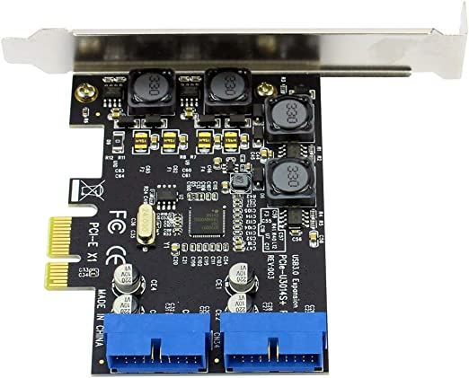 JMT USB3.0 PCI-E PCI Express X1 Expansion Card Front 5Gb//s USB 3.0 HUB 19PIN Interface Controller Adapter 120X69X90mm for PC Desktop