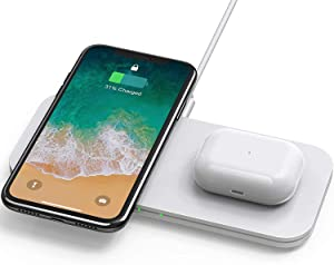 2 in 1 Wireless Charger, Wireless Charging Station, iPhone 12/11 Series/XS MAX/XR/XS/X/8/8 Plus/Samsung, Wireless AirPods/AirPods Pro Charger, White