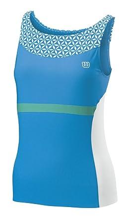Wilson - Camiseta de pádel para Mujer, tamaño L, Color Cyan/Blanco ...