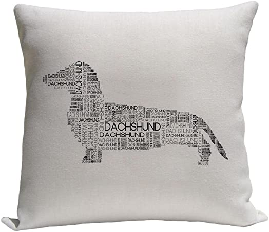 4WoodenShoes Dachshund Word Silhouette Throw Pillow