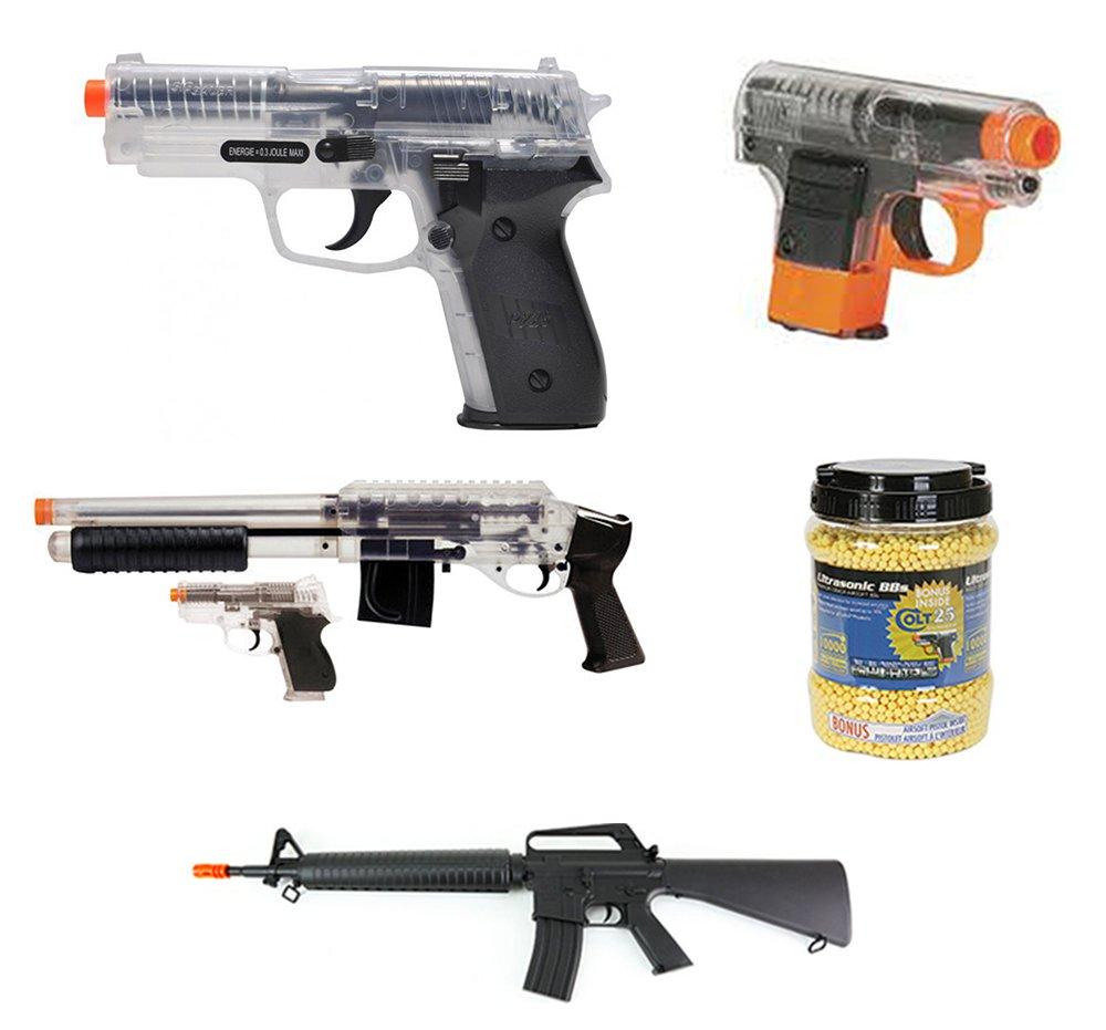 A&N Airsoft Bundle Deal- P228 Airsoft Spring Pistol, Full-Size Official COLT 25 Airsoft Pistol, Airsoft Spring Rifle, Mossberg M3000 Airsoft Shotgun, CS45 Airsoft Pistol BB Gun, Pack of 10000 BB's,