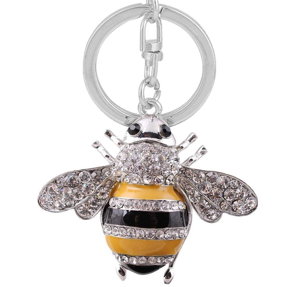 Xuxuou Woman Keyrings Cute Bee Rhinestone Keychain Novelty Metal Car Key Ring Handbag Pendant Accessories Girl Couple Gift Anniversary Gift