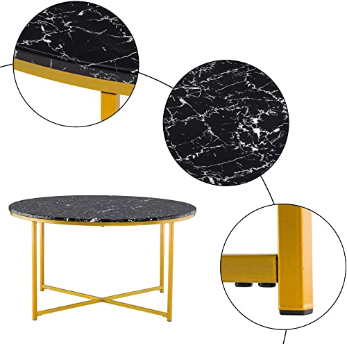 VINGLI Modern Round Coffee Table Accent Table Faux Marble Tableop