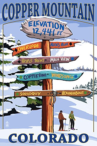 Copper Mountain, Colorado - Ski Destinations Sign (9x12 Art Print, Wall Decor Travel Poster)