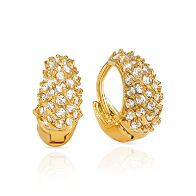 Buy Mahi CZ Collection Gold Plated CZ Stones Hoop Earrings For