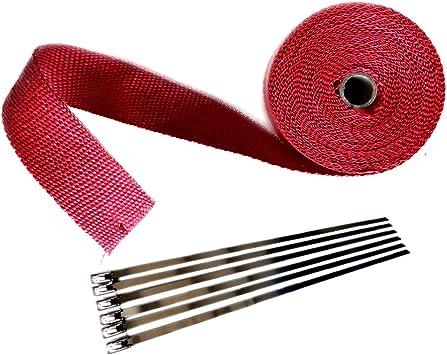 """2 Roll x 2/"""" 50FT Red Exhaust Wrap Manifold Header Fiberglass Heat Wrap Tape"""