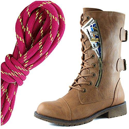 Dailyshoes Dames Militaire Veter Gesp Laarzen Mid-knie Hoge Exclusieve Creditcard Zak, Warm Roze Lime Slanke Tan