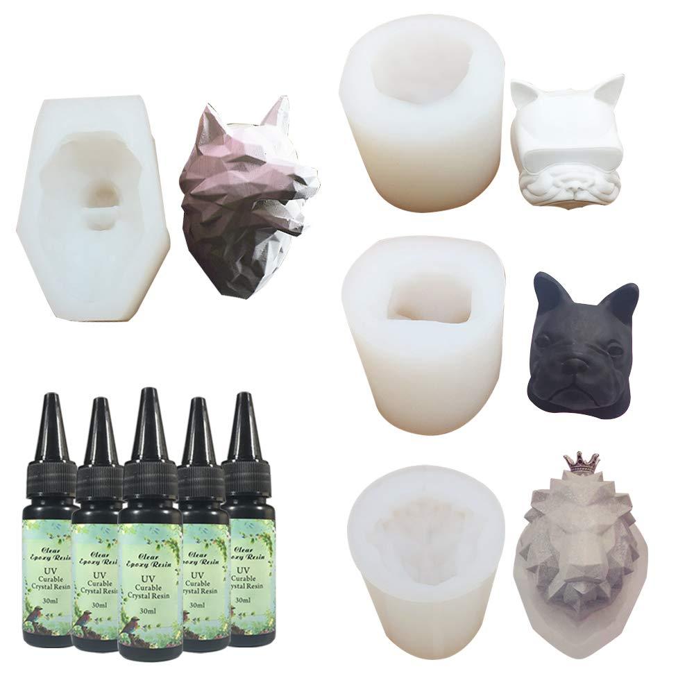 5X30ML Resina,4pcs 3D Silicone Lion & Wolf Head Moulds Set Set de grado alimenticio para la decoració n de pasteles para hornear, Jabones artesanales Resina de yeso Velas de aromaterapia Frenshion