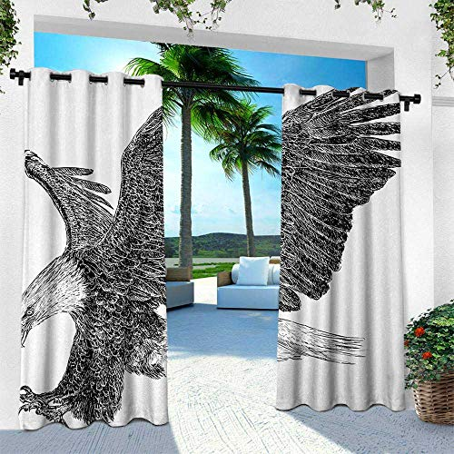 - Animal, Outdoor Patio Curtains Waterproof with Grommets,Bald Eagle Swoop Hand Drawn Sketchy Figure Flying Hunter Wildness Artwork, W84 x L108 Inch, Black Light Grey