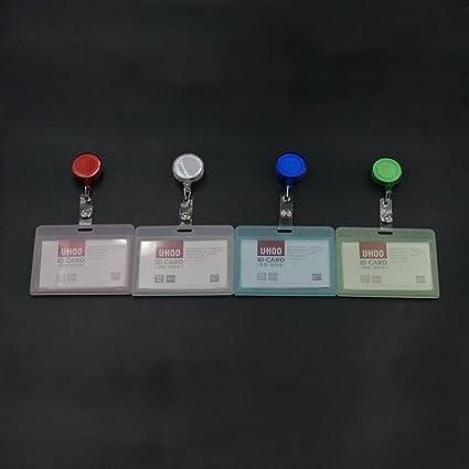 Horizontal ID Card Badge Holder + carrete retráctil para ...