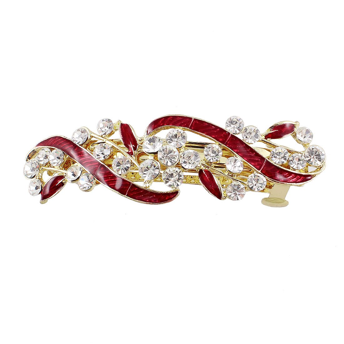 uxcell Sparkle Rhinestone Decor Red Metal Leaves Design French Clip Barrette for Women a13020100ux0241