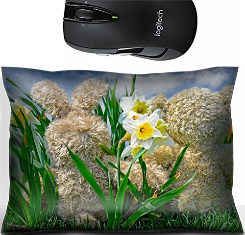 Liili Mouse Wrist Rest Office Decor Wrist Supporter Pillow teddy bear and bunny in daffodils Photo 19425863 ()