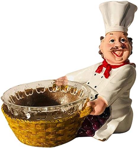 Amazon Com Smiling Chef Figurine Kitchen Decor With Serving Bowl Decoration Home