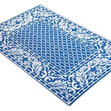 French Scrolling Leaf Border, 4 ft x 6 ft, Outdoor Patio Rug, Blue