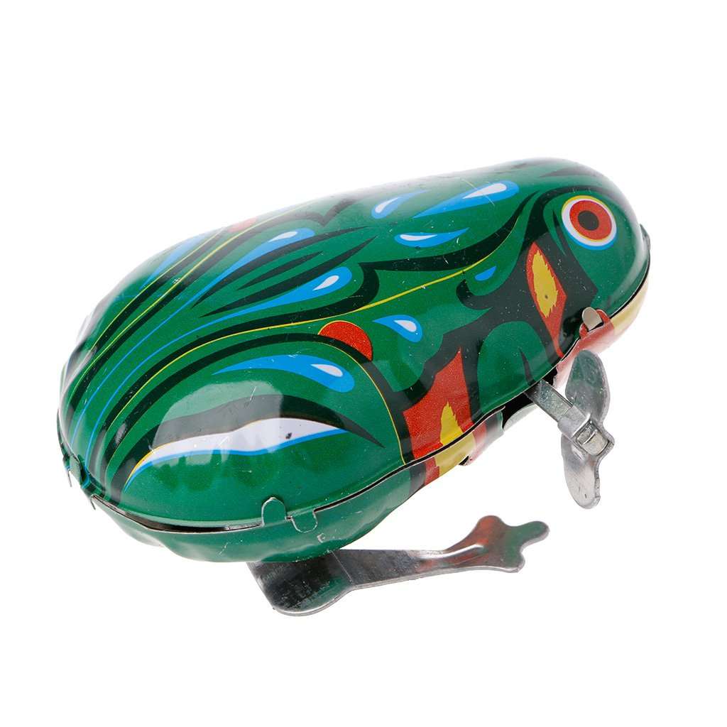 Kofun Frog Tin Toy, Metal Wind-Up Jumping Frog Clockwork Tin Toys Children Funny Game Vintage Doll Ideal Christmas Birthday Frog Tin Toy Gift for Kids