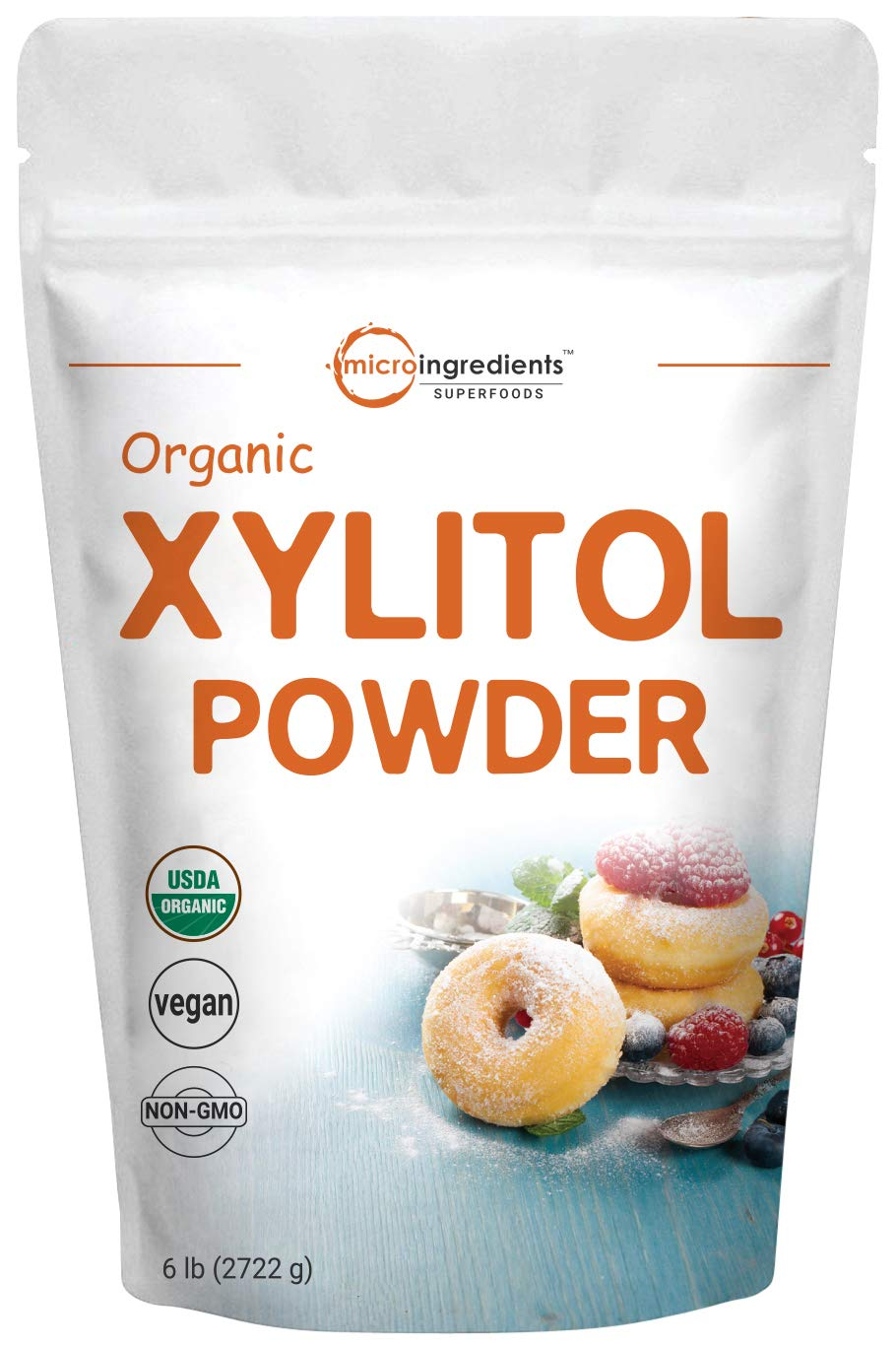 Micro Ingredients Organic Xylitol Sweetener (Crystal Powder), 6 Pounds (96 Ounce), Natural Sweetener, Sugar Substitute and Low Calorie, No GMOs and Diet Friendly by Micro Ingredients