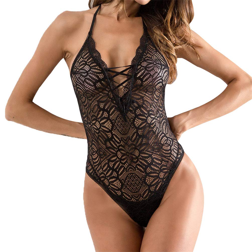 Oasisocean Womens Sexy Lingerie One Piece Fishnet Lingerie Lace Sling Babydoll Teddy Mini Bodysuit Nightwear Sleepwear Black