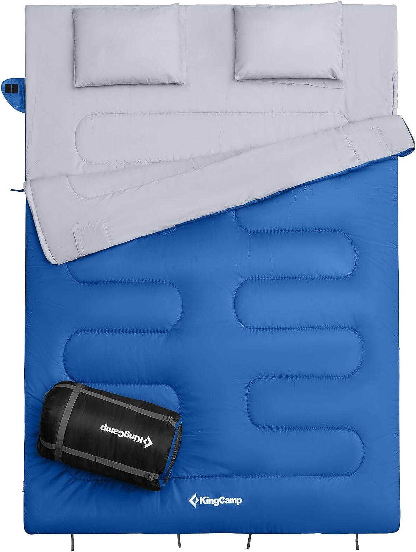 150cm KingCamp Double Sac de Couchage Rectangulaire pour Camping,3 Saisons pour Adults Enfants,Oxygen S/érie,Randonn/ée et Ext/érieur 220